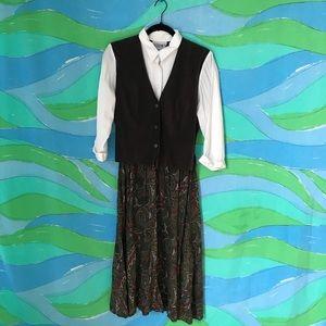 VINTAGE 80s 90s career wear dress paisley print